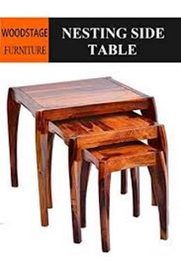 Woodstage Sheesham Wood Bedside Nesting Tables Set of 3 Stools for Living Room Furniture for Home Walnut Finish