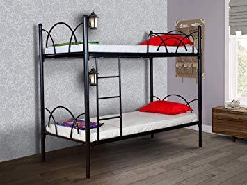 furniturekraft milan single size metal bunk bed mild steel black 1