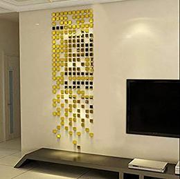 100 3 cm Each Square Mirrors Golden 3D Acrylic Sticker