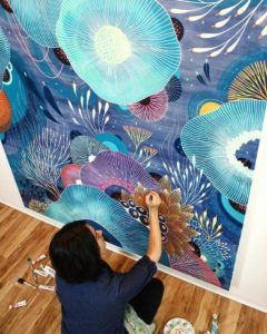 Artist-Paints-Imaginary-Ecosystems-Bursting-With-Colorful-Flora-and-Fauna
