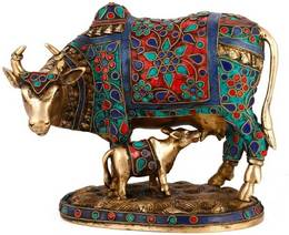 Beautiful Decorative Cow and Calf Brass Stone Work Statue Decorative Showpiece