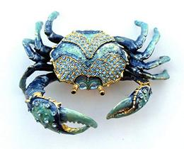 Blue Crab Enameled Jeweled Box Includes a Tropical Magnet