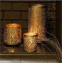 Candle Holders Metallic Gold Set of 3 with FREE 12 Scented Tealight Candles