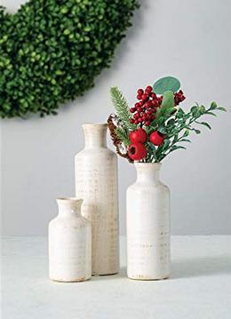 Ceramic Vase Set Various Sizes Distressed White