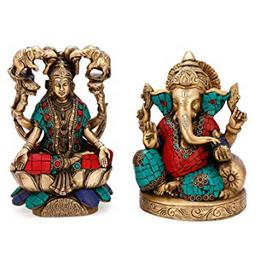 Collectible India Ganesha and Goddess Lakshmi Idol Hindu God Brass Statue Indian Diety Figurine Laxmi Ganesh Idol