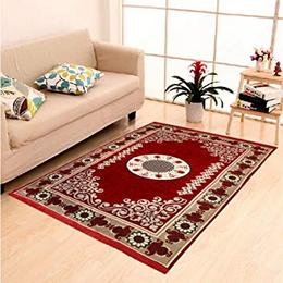 DAILZ Ethnic Velvet Touch Abstract Chenille Carpet Maroon