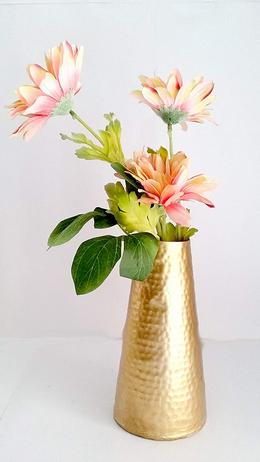 Handmade Golden Metal Flower Pot Vase for Home Decoration Set of 1