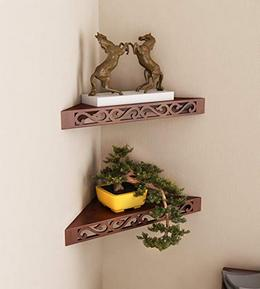 Home Sparkle Set of 2 Corner Wall Shelves Engineered Wood Brown