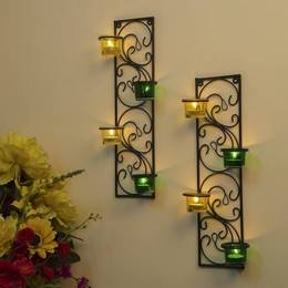 Homesake Wall Hanging Twisted Petals Tea Light Candle Diya Holders Set of 2 Green and Yellow Candle Holder