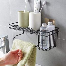 Metal MultipurposeWall Holder Storage Rack Strong Magic Sticker Rack Shelf with Towel Holder Black Color