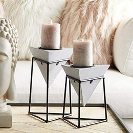 Modern Geometric Gray Wood Metal Candle Holders in Iron Platform Frames Set of 2