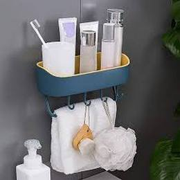 Multipurpose Wall Holder Storage Rack Strong Magic Sticker Shower Rack Shelf with Towel Hook. Blue