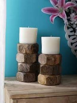 Sammsara Wooden Candle Holder for Home Décor Set of 2