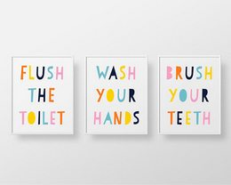 Set of 3 Printables Bathroom Rules Pastel Unisex rainbow kids bathroom decor flush toilet wash hands brush teeth Instant download