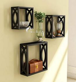 The home sparkle wooden cube wall shelf
