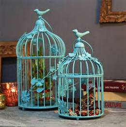 Turquoise Bird Cage with Floral Vine with Hanging Chain Iron Candle Holder