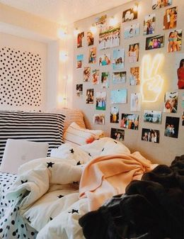 bedroom decor with memories hanging on wall