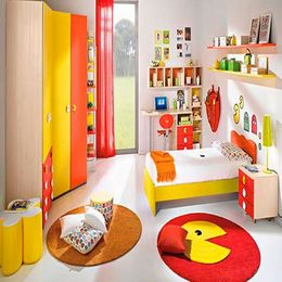 red and yellow color palette for kids room interior and wall