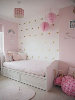 white and pink color combination palette for kids room interior and wall