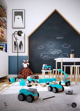 amazing chalkboard wall for kids room
