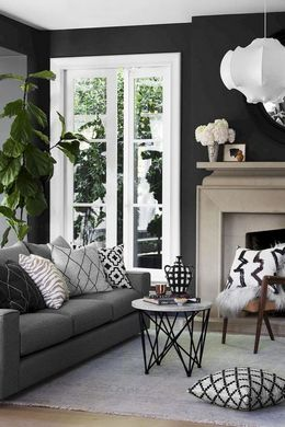 black theme living room