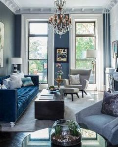 navy blue color palette living room designs