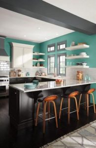 turqoise color palette for kitchen interior and wall