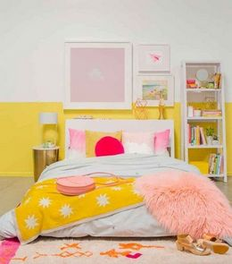 yellow colored palette combination for bedroom