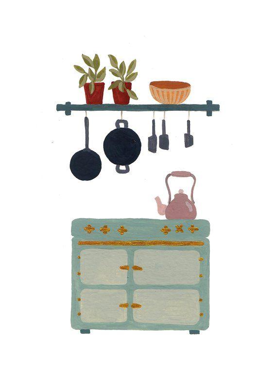 Interior Design Vintage kitchen Retro Art